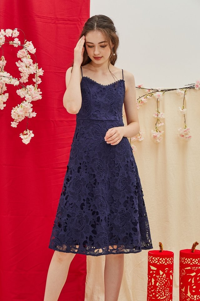 Norah Premium Crochet Midi Dress in Navy