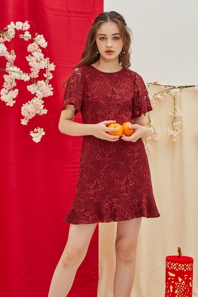 Mable Premium Lace Ruffled Hem Dress in Wine