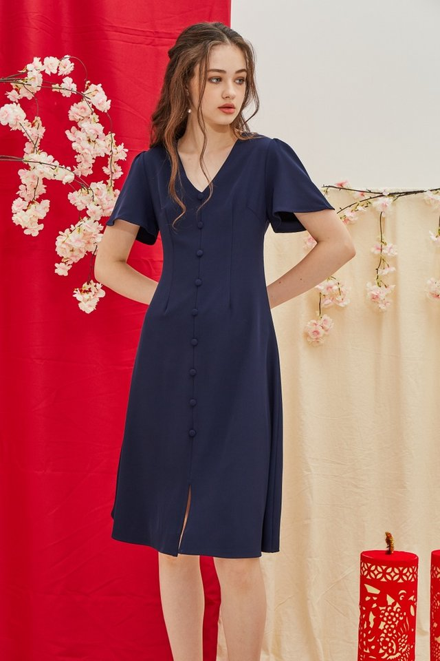 Taylee Button Midi Dress in Navy