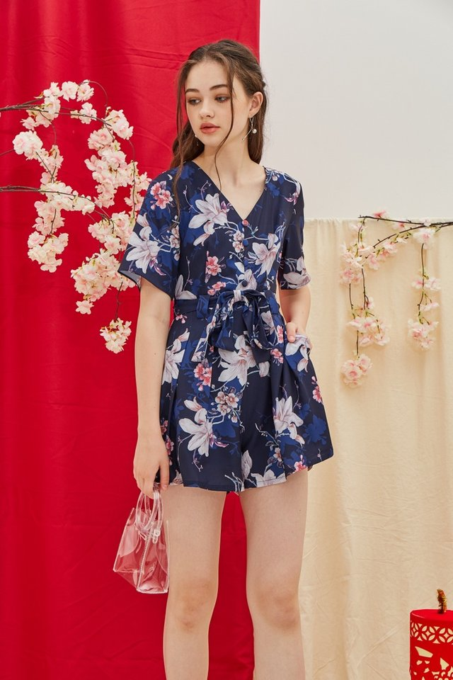 Karissa Floral Button Romper in Navy (XS)