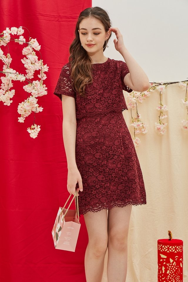 Gace Premium Lace Layered Sleeves Dress in Wine