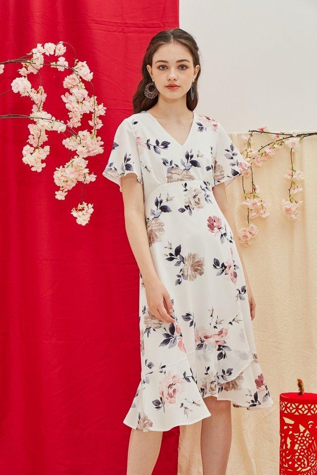 Trudy Floral Ruffled Hem Midi Dress in White