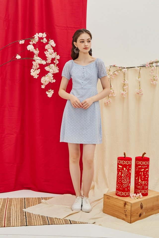 Gena Premium Eyelet 2-Way Button Dress in Blue
