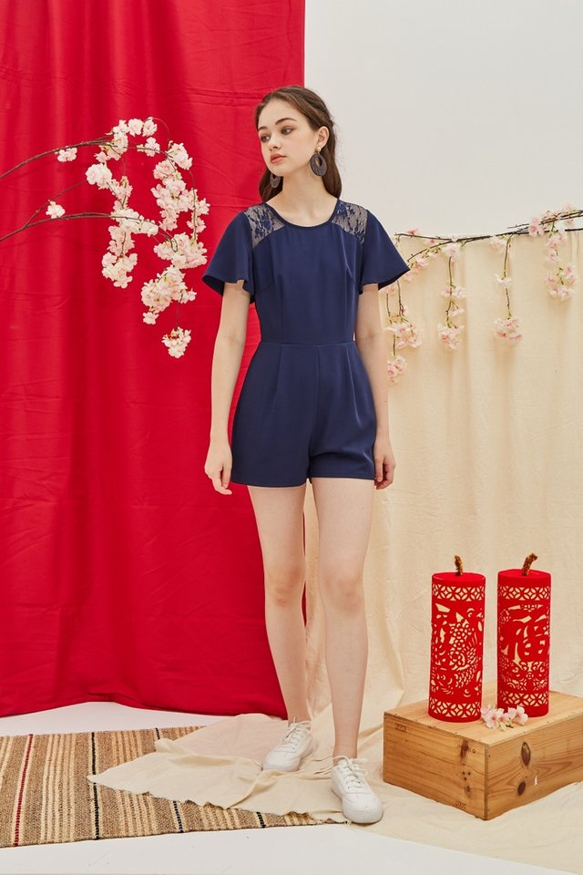 Izzy Lace Insert Pocket Romper in Navy