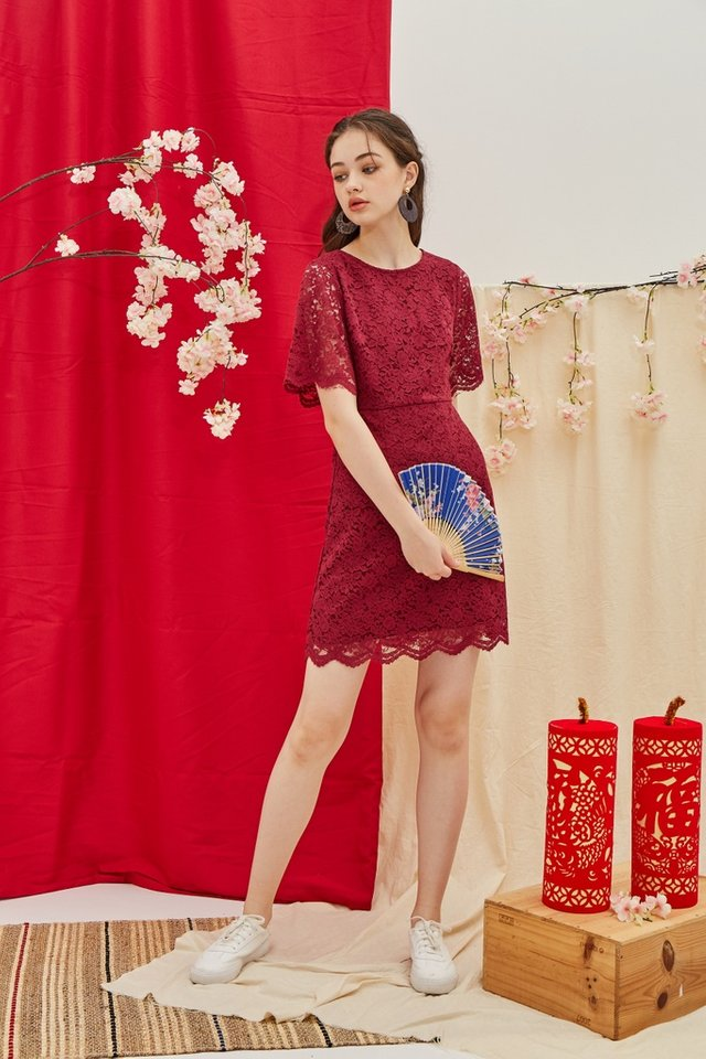 Helene Premium Lace Sleeves Dress in Wine
