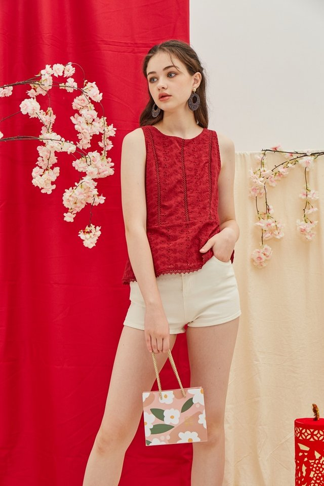 Carlene Eyelet Peplum Top in Red