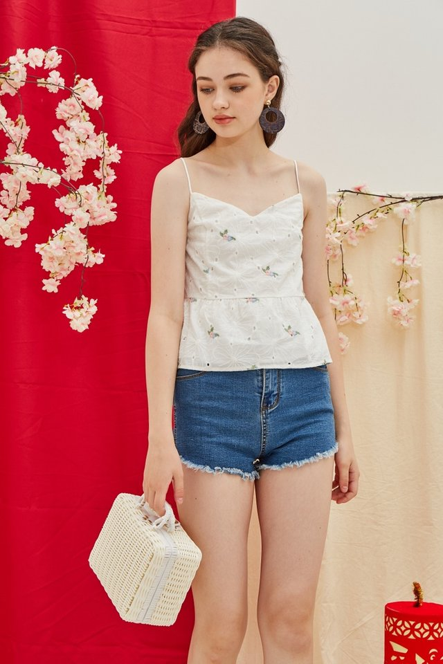 Kara Eyelet Babydoll Top in White