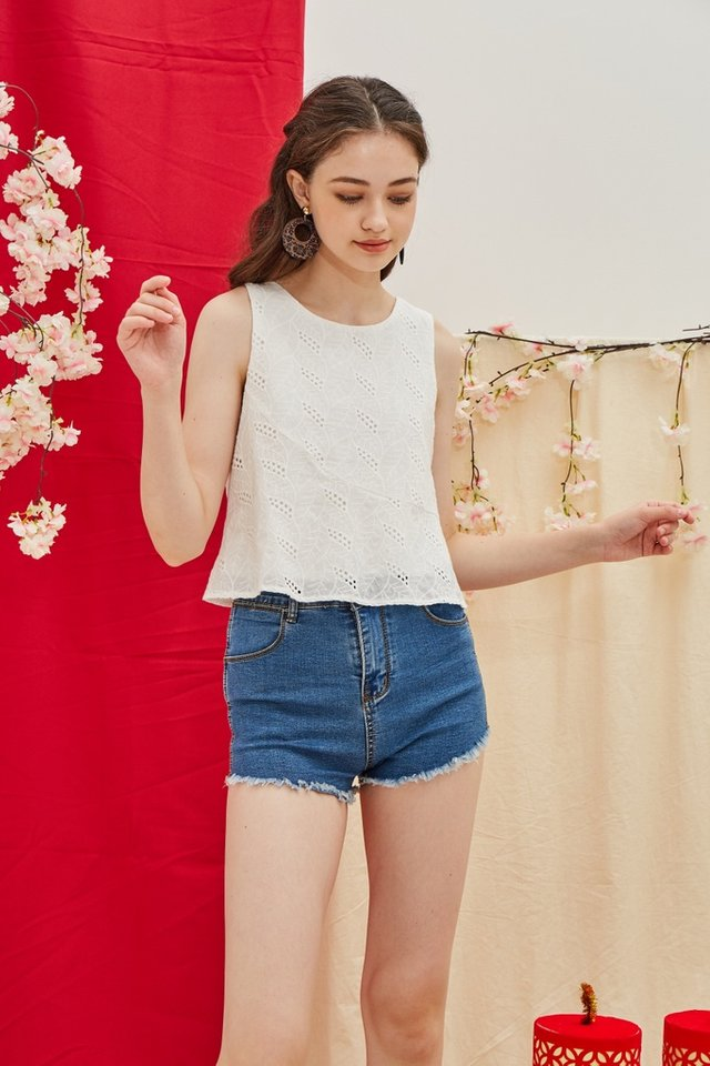 Isabel Eyelet Sleeveless Top in White