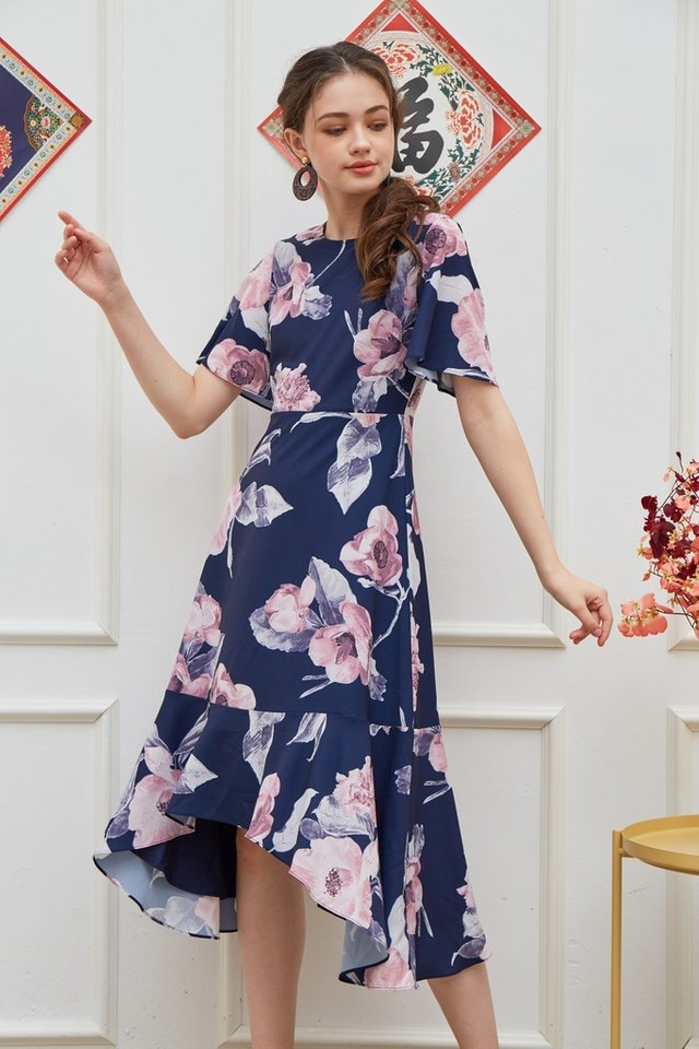 Zelda Floral Drape Hem Midi Dress in Navy