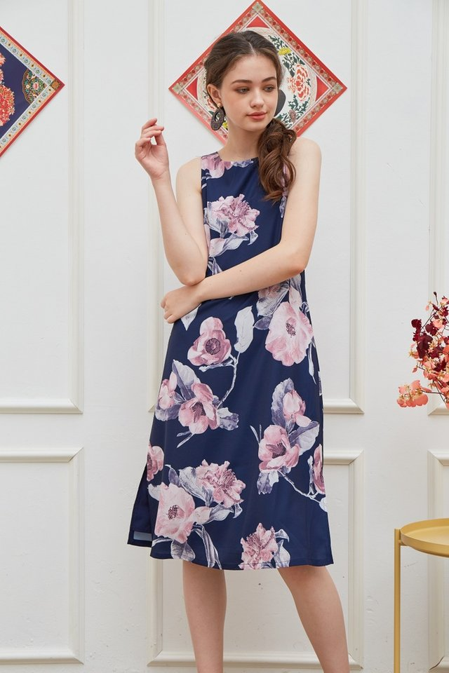 Sylvia Floral Trapeze Midi Dress in Navy