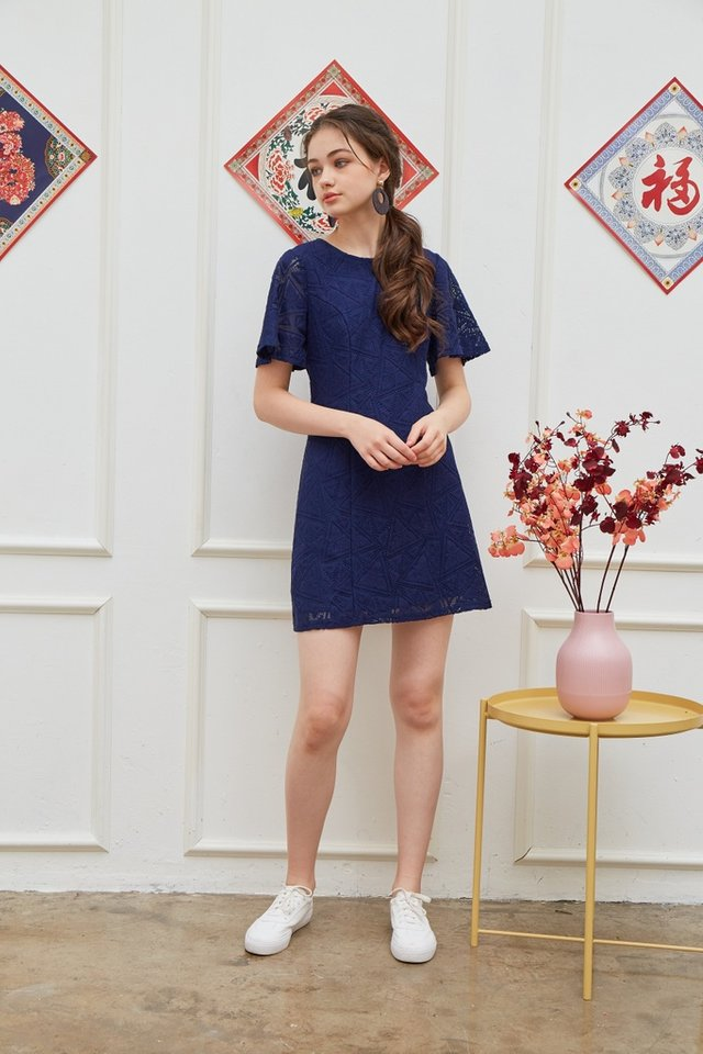 Garnett Premium Lace Panel Dress in Navy