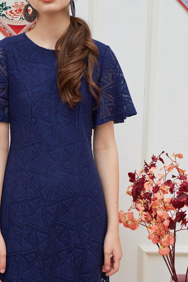 Garnett Premium Lace Panel Dress in Navy