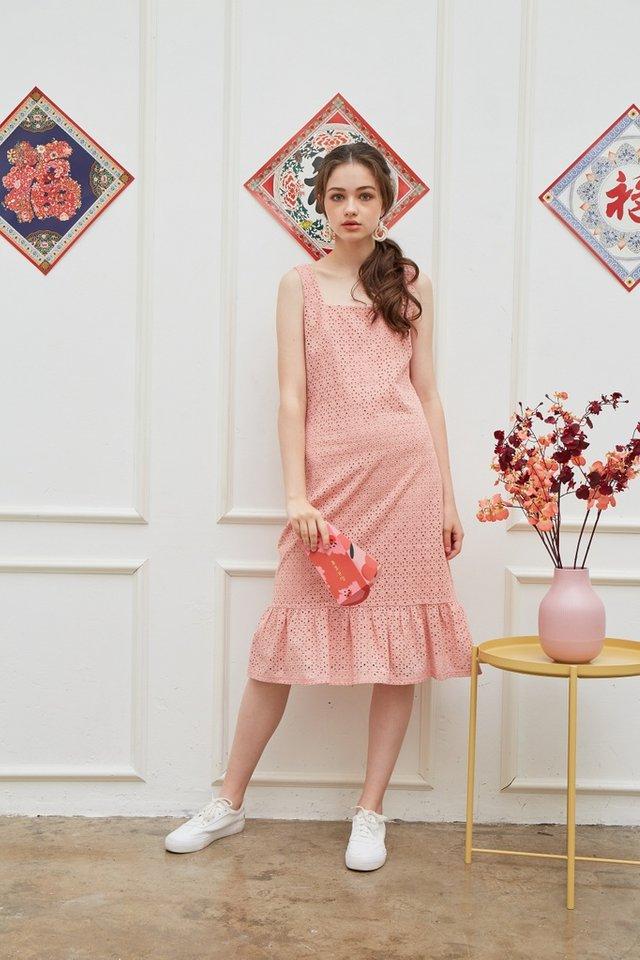 Phillis Premium Eyelet Dropwaist Dress in Pink