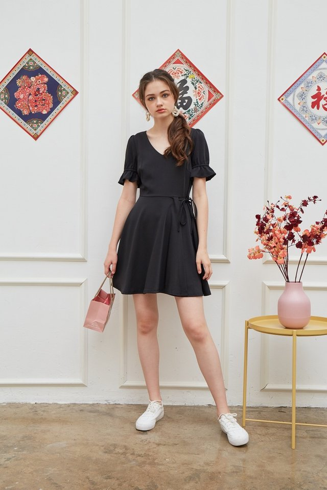 Stephany Overlap Flare Dress in Black