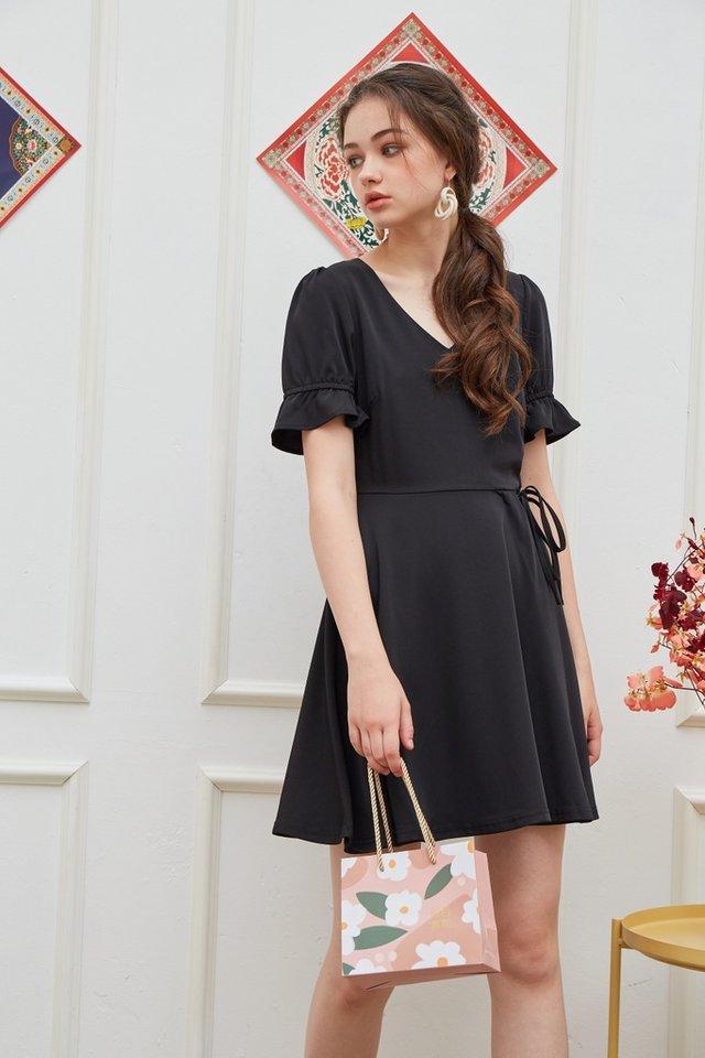 Stephany Overlap Flare Dress in Black