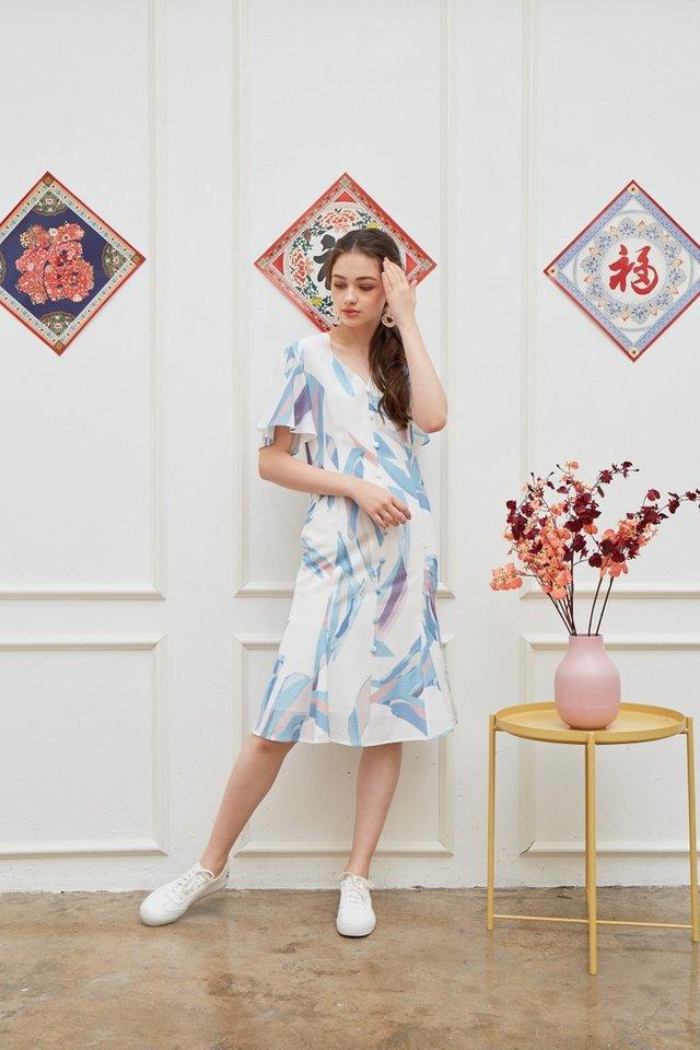 Odellia Abstract Button Midi Dress in Blue
