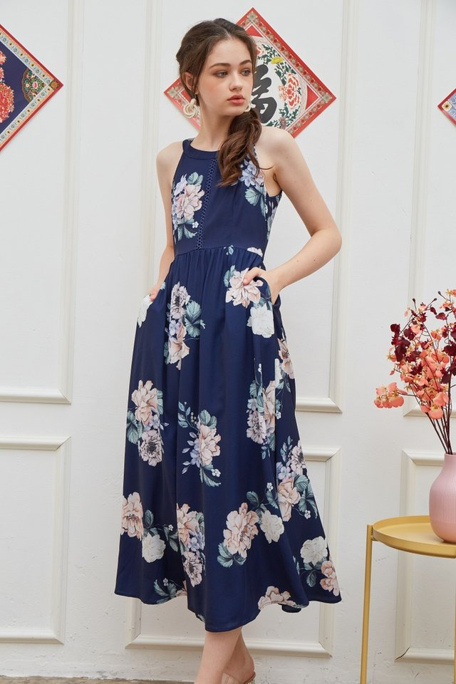 Jinny Halter Eyelet Trim Maxi Dress in Navy