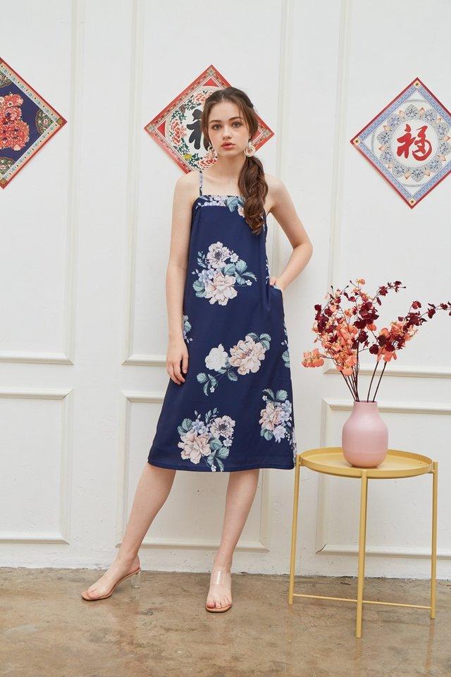 Lucinda Floral Midi Dress in Navy