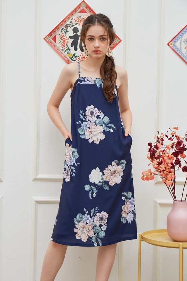Lucinda Floral Midi Dress in Navy