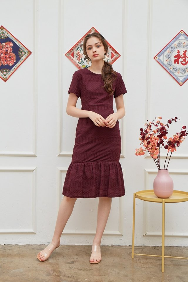 Janna Premium Eyelet Dropwaist Midi Dress in Plum
