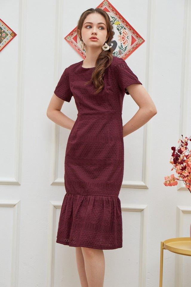 Janna Premium Eyelet Dropwaist Midi Dress in Plum