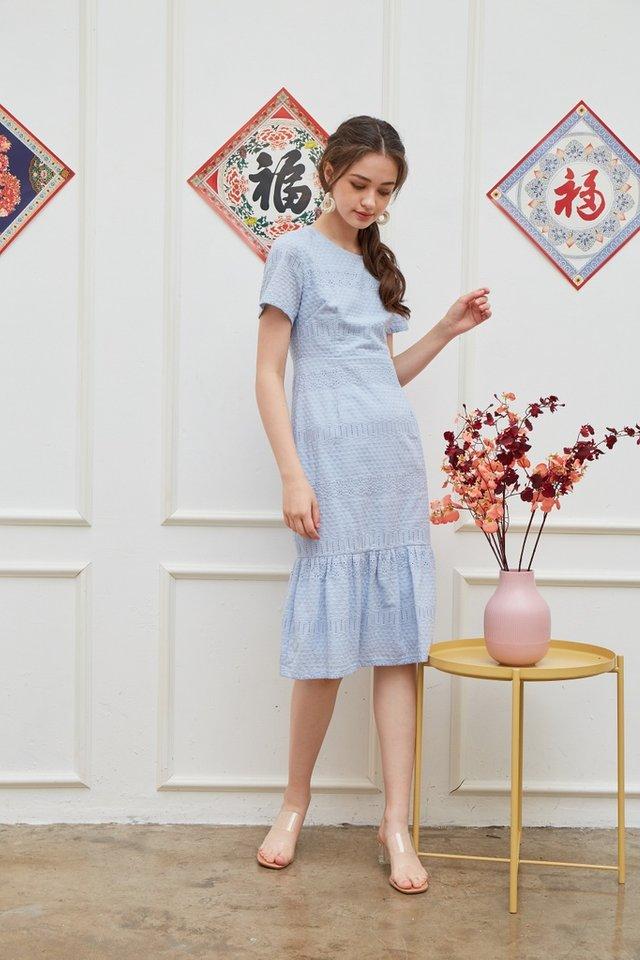 Janna Premium Eyelet Dropwaist Midi Dress in Powder Blue