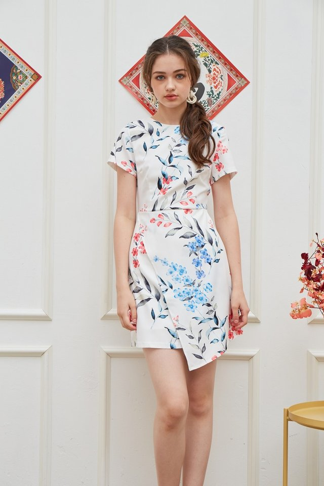 *Online Exclusive* Narelle Floral Overlap Dress in White