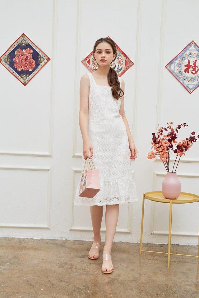 Phillis Premium Eyelet Dropwaist Dress in White