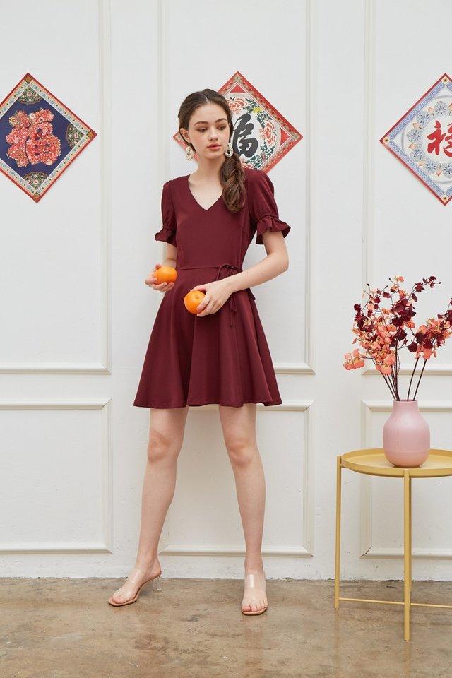 Stephany Overlap Flare Dress in Wine