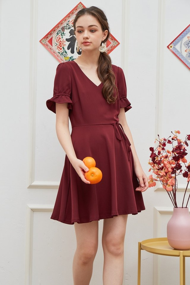 Stephany Overlap Flare Dress in Wine