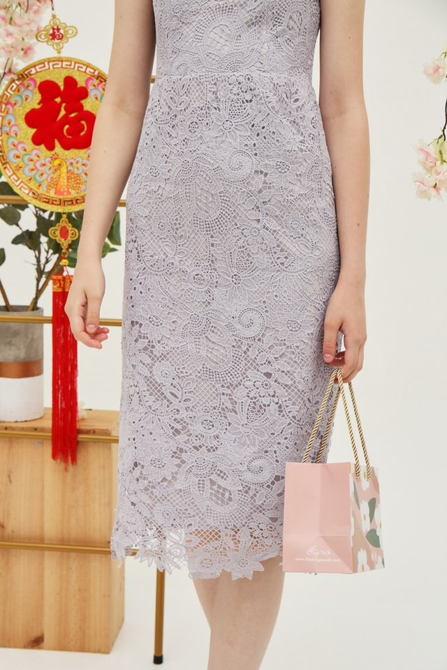 Juliet Premium Lace Midi Dress in Lavender Grey