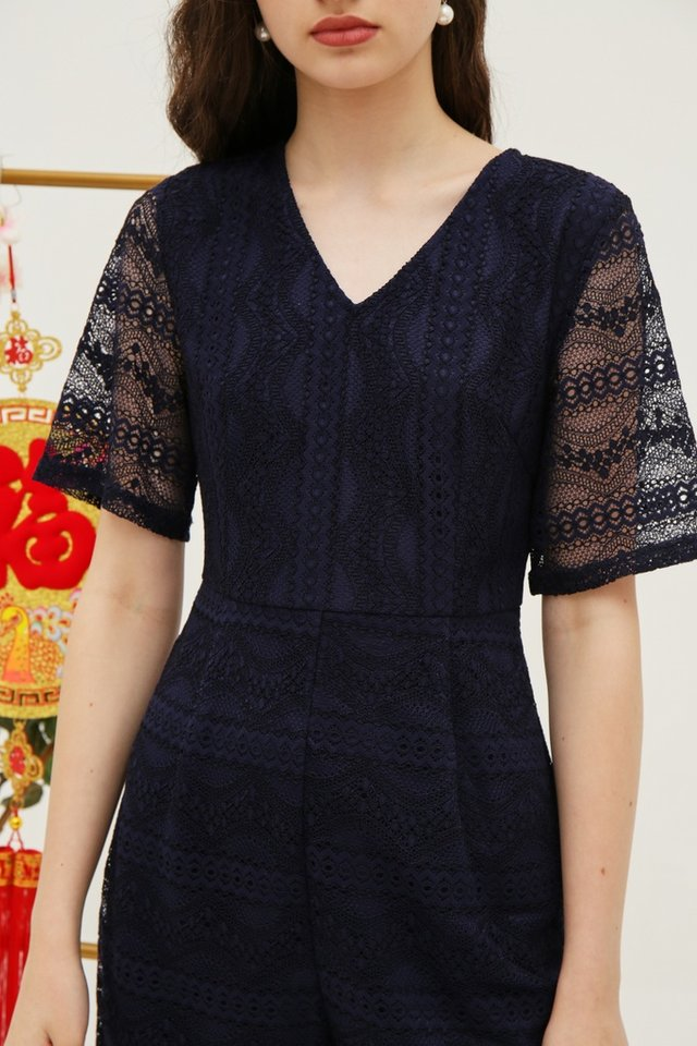 Bella Premium Lace Romper in Navy