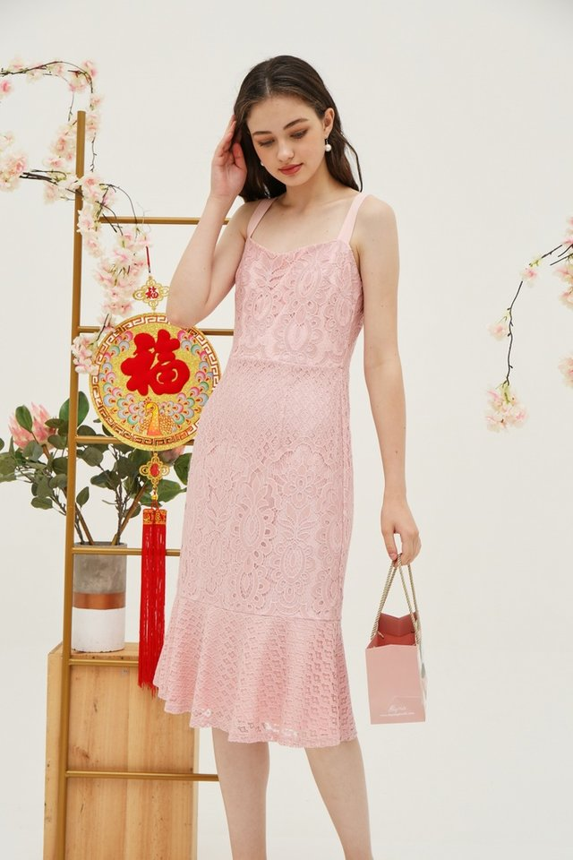Jori Premium Lace Dropwaist Midi Dress in Pink