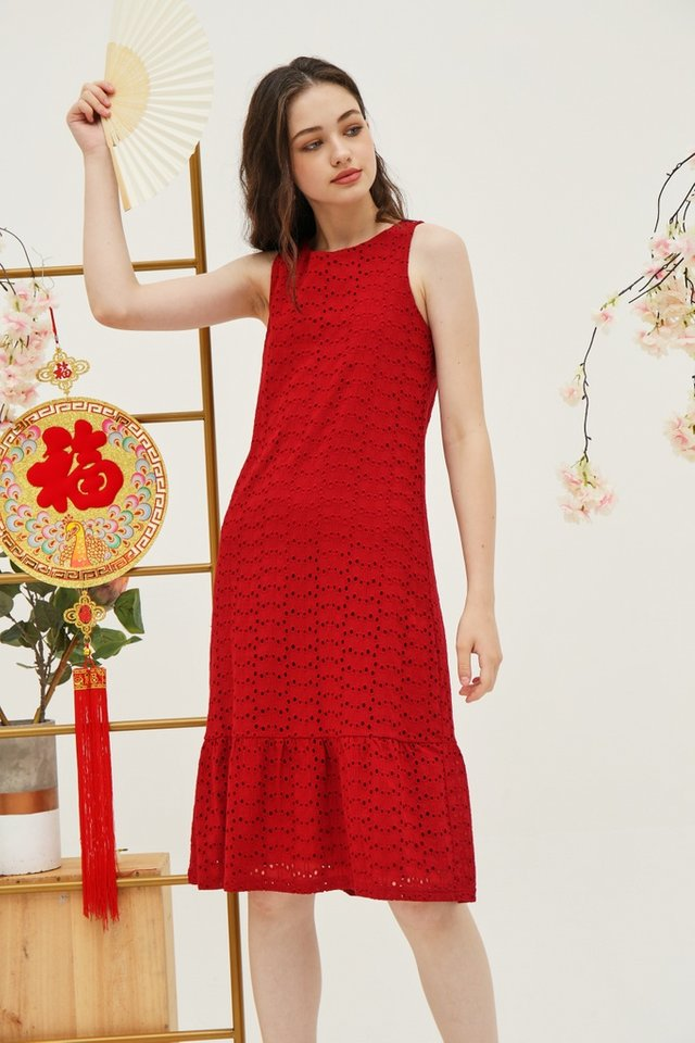 Yvette Premium Eyelet Dropwaist Midi Dress in Red