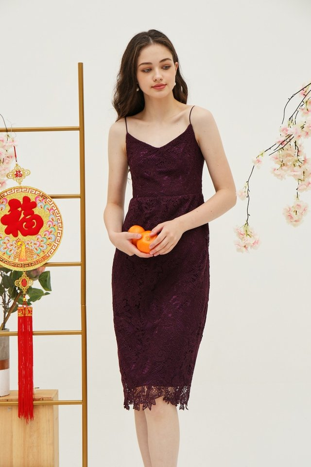 Juliet Premium Lace Midi Dress in Deep Purple