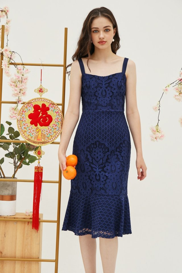 Jori Premium Lace Dropwaist Midi Dress in Navy