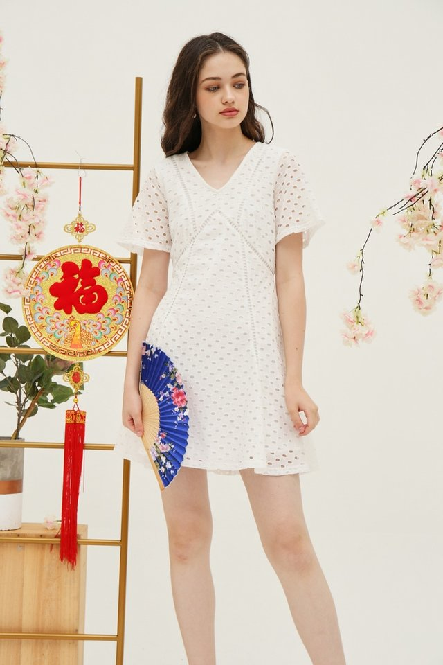 Bonita Premium Eyelet Skater Dress in White