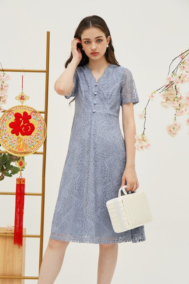 Trina Premium Lace Button Midi Dress in Blue