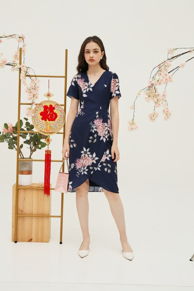 Gladys Floral Petal Hem Midi Dress in Navy