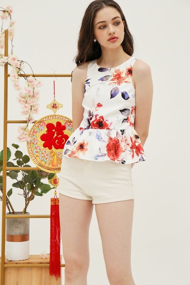 *Online Exclusive* Shavonne Floral Peplum Top in White