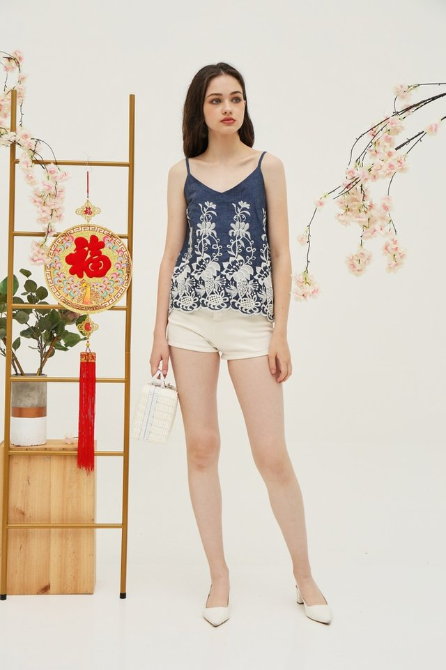Edith Denim Embroidery Top in Blue