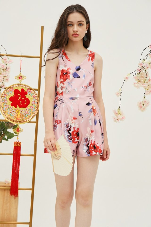 *Online Exclusive* Stacey Floral Pocket Romper in Pink
