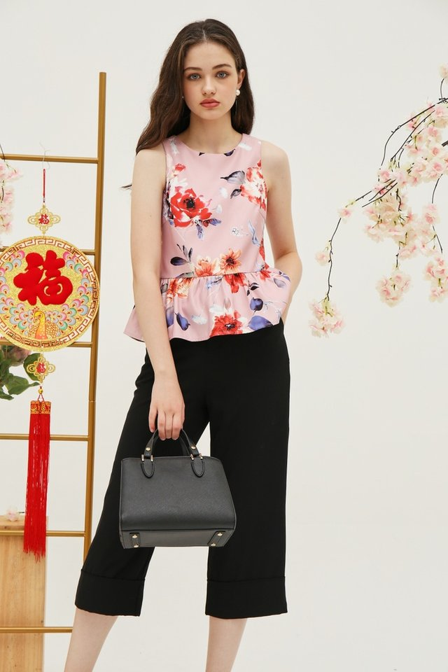 *Online Exclusive* Shavonne Floral Peplum Top in Pink