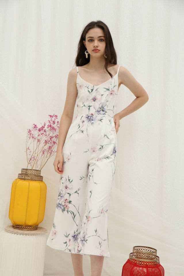 Marlyn Floral Wide Leg Jumpsuit in White