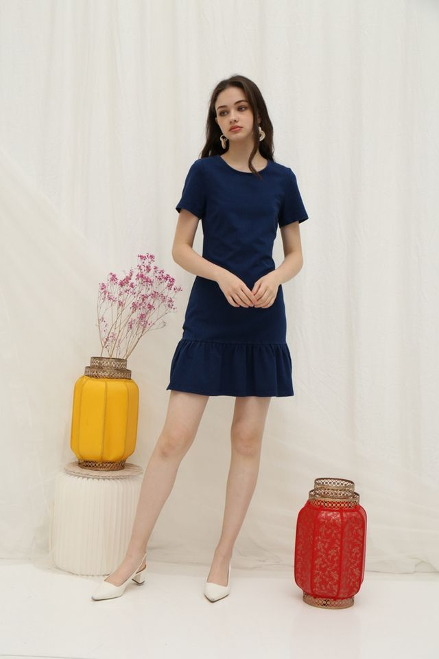 *Online Exclusive* Erin Denim Dropwaist Dress in Dark Wash
