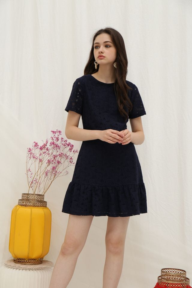 Hally Lace Ruffled Hem Dress in Navy
