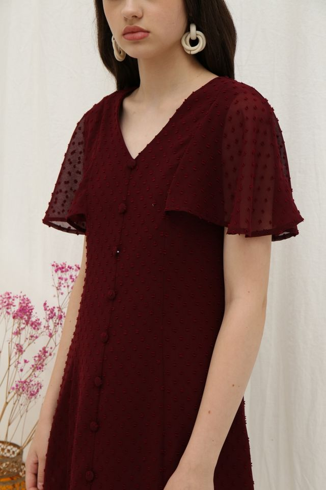Maeve Swiss Dots Button Dress in Wine