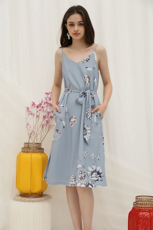 *Online Exclusive* Tammi Floral Midi Dress in Light Blue