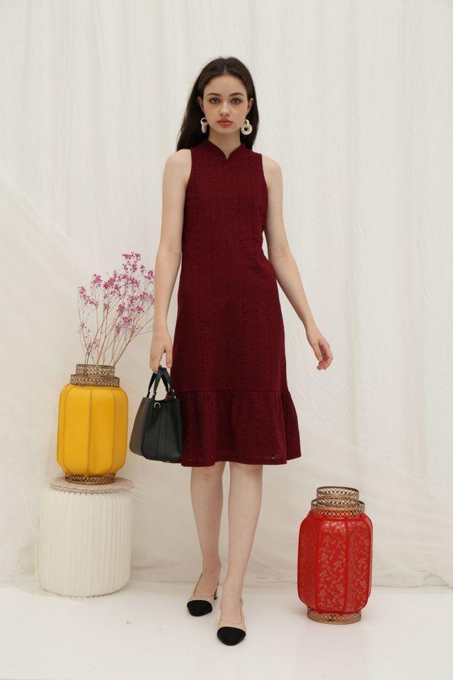 Tara Premium Eyelet Cheongsam Midi Dress in Wine (XS)