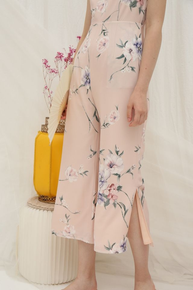 Marlyn Floral Wide Leg Jumpsuit in Peach